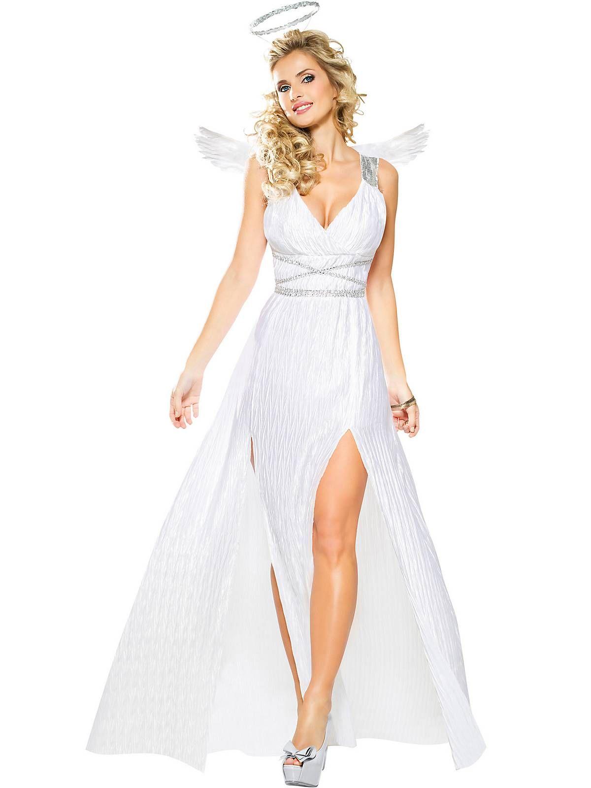 ladies women/'s large white faux fur chiffon Christmas Santa Con angel costume costumes dress