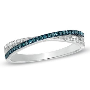 1/7 CT. T.W. Enhanced Blue and White Diamond Criss-Cross Band in 10K White Gold
