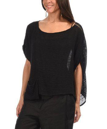 Black Cape-Sleeve Linen Top - Women