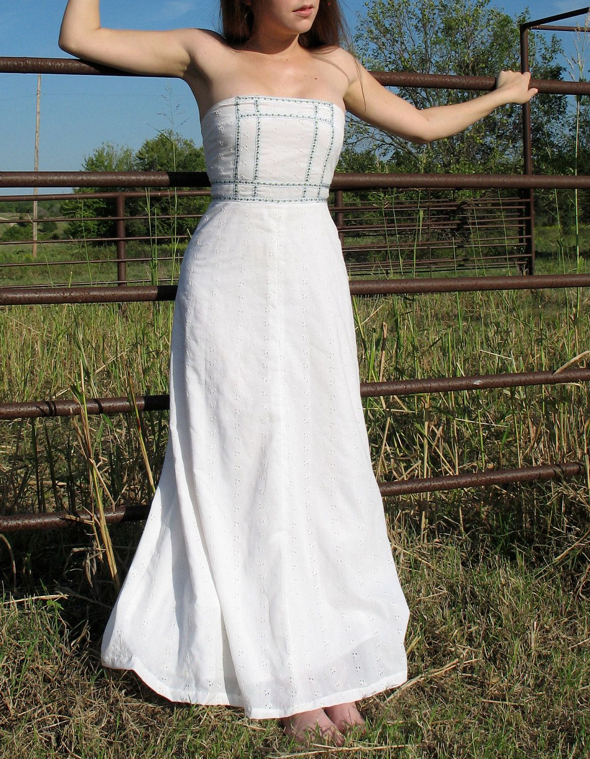 Simple Long White Strapless Dress