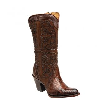 BOTA CUADRA ~ Bota clásica en piel genuina de pitón con aplicaciones de  figuras en láser y detalles de tejido a mano | I loveeee shoes | Pinterest  | Cowboy ...