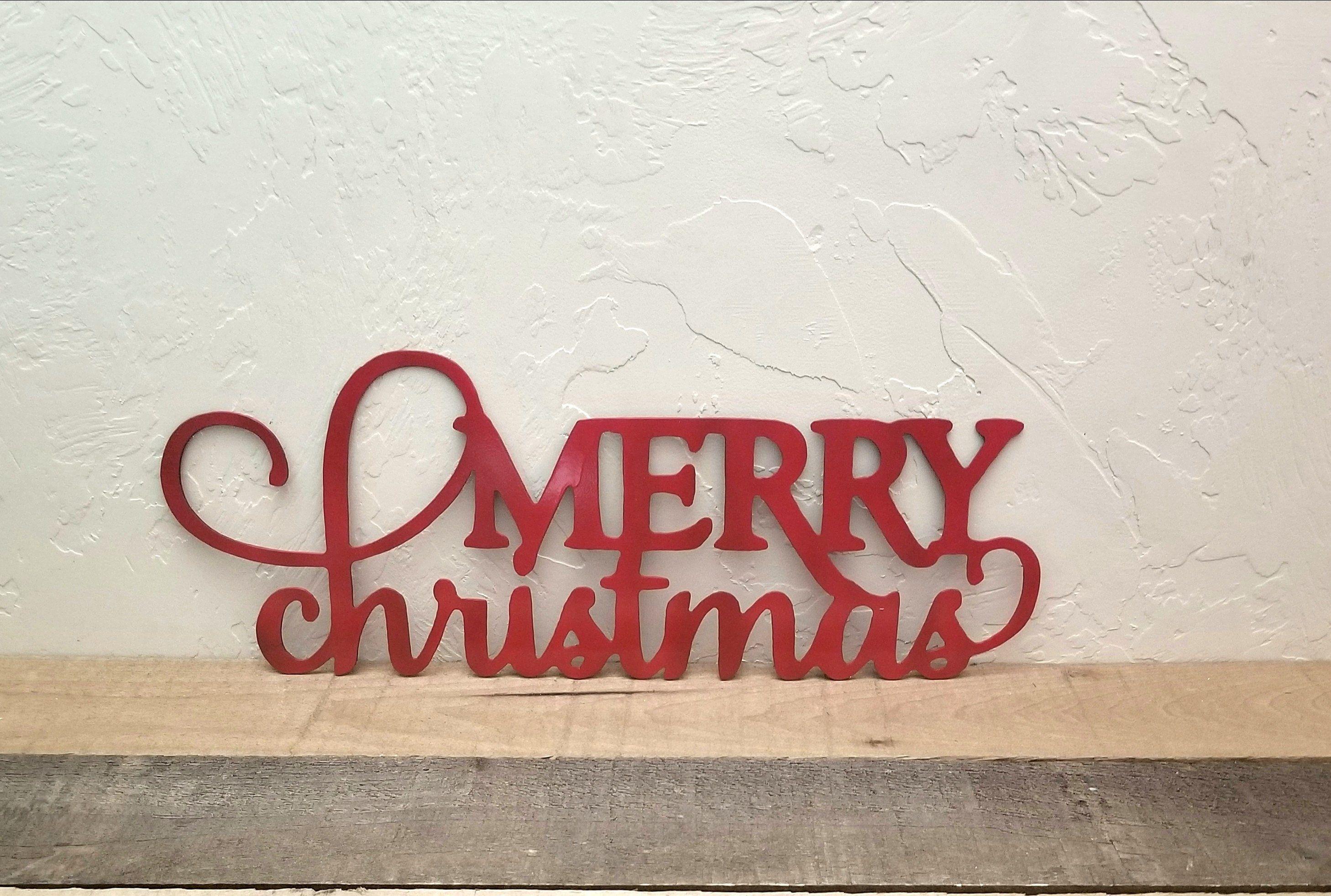 Metal Merry Christmas Sign Metal Wall Art Christmas Sign Etsy Merry Christmas Sign Christmas Wall Decor Christmas Signs