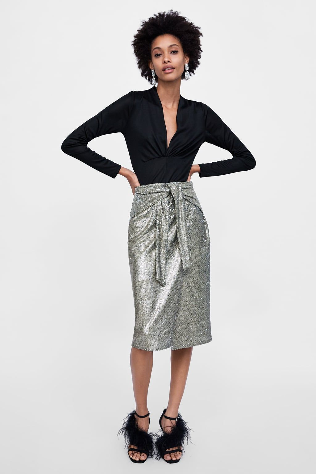cc0ce3743 Image 1 of KNOTTED SEQUIN SKIRT from Zara | Editor Wish List ...