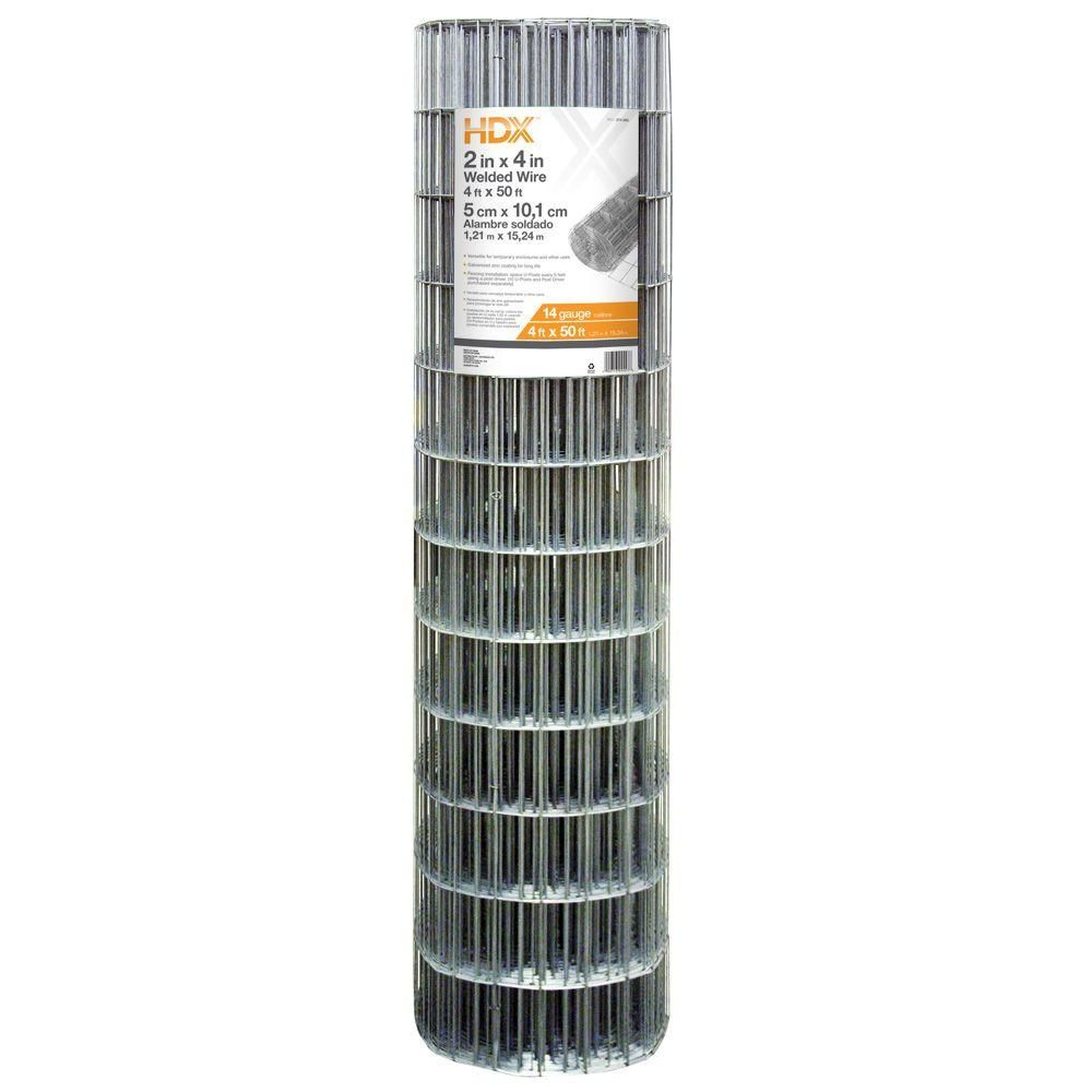 HDX 4 ft. x 50 ft. 14-Gauge Galvanized Steel Welded Wire-308302HD ...