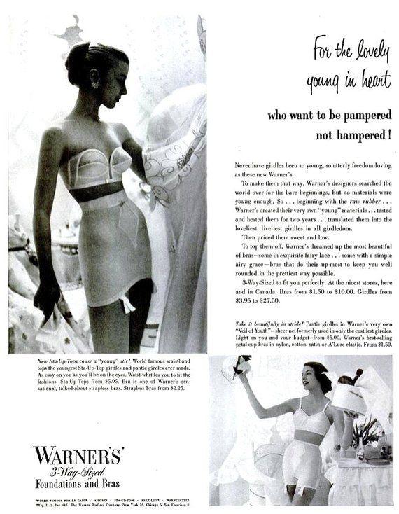 4b46ab2a1aee0 1951 Warner Girdles   Bras Advertisement Vintage Mid Century Fashion  Lingerie Haute Couture Hat Blac