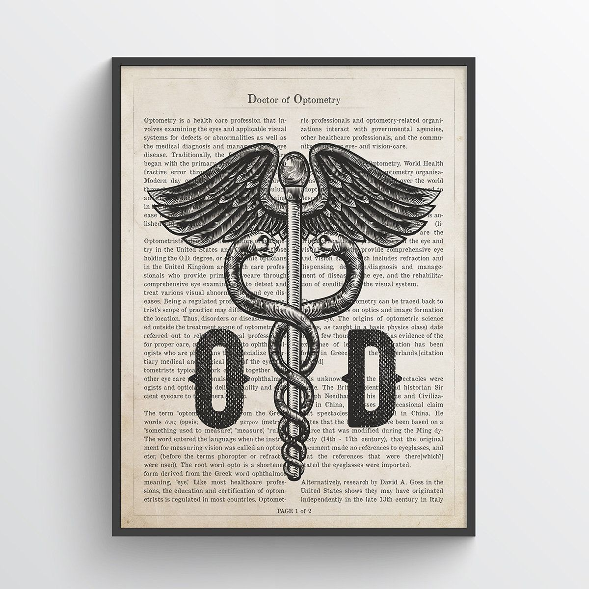 Doctor of Optometry Gift, Optometrist Gift, OD Decor, Doctors Office Decor, OD Graduation Gift, Medical Print, Eye Care Professional