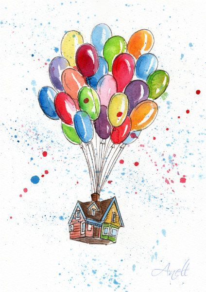 Watercolor Print – Watercolor Painting – Up – Balloons – House with balloons – Wall Decor – Home Wall decor – Baby nursery print – Kids room