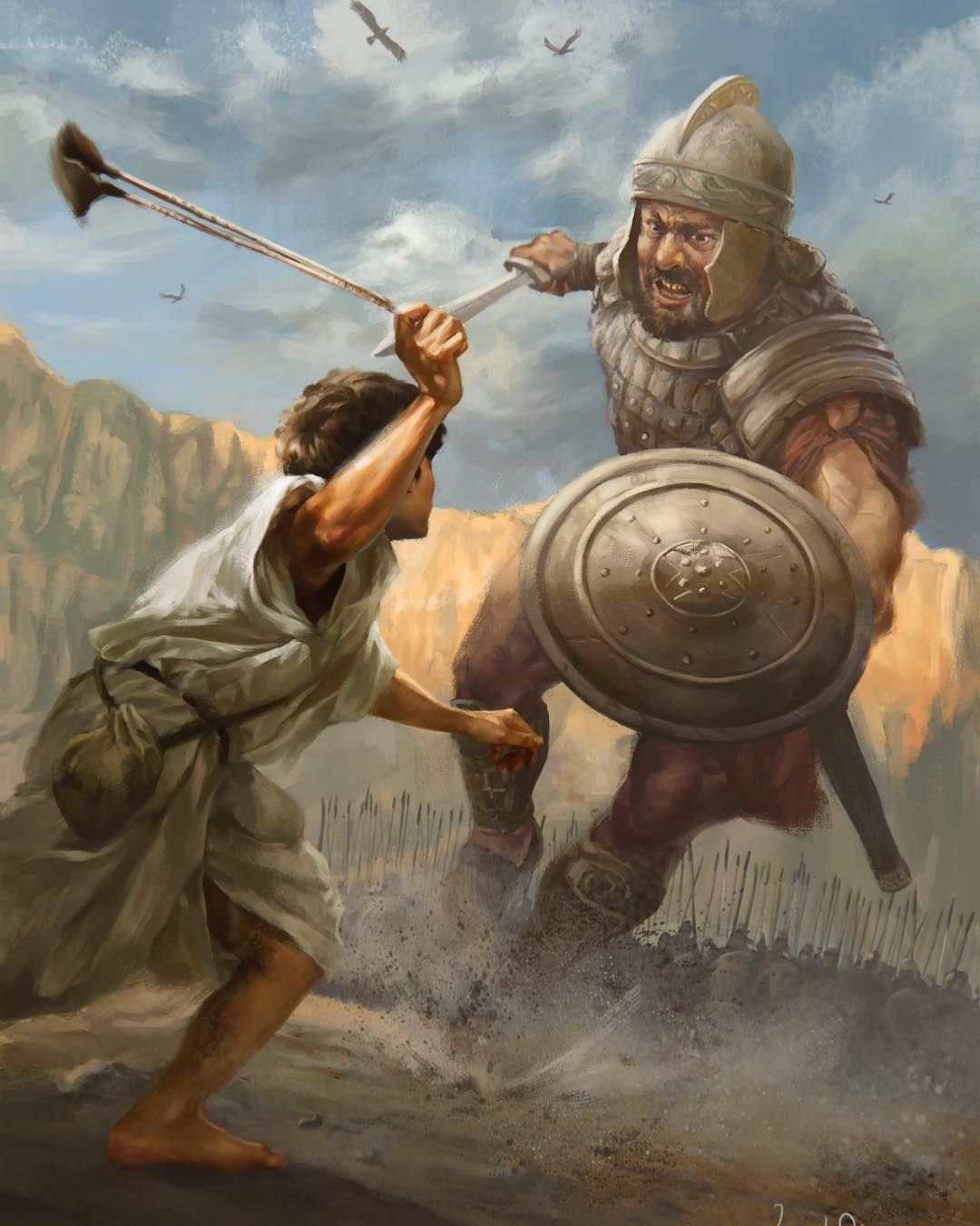 David and Goliath Bible Story Paintings