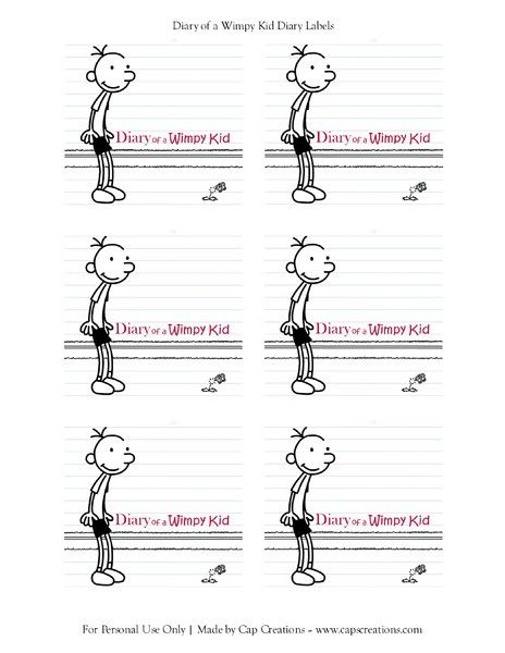 Diary Of A Wimpy Kid Label Diary Of A Wimpy Kid Party Pinterest