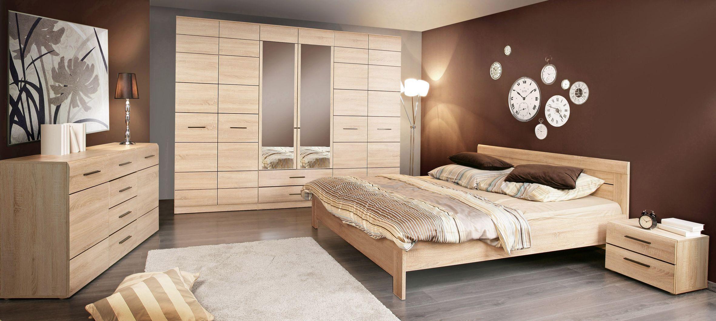 Schlafzimmer Mit Bett 180 X 200 Cm Sonoma Eiche Woody 77 00241
