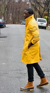Yellow raincoat and LL Bean boots! Joshua takes it to another level.