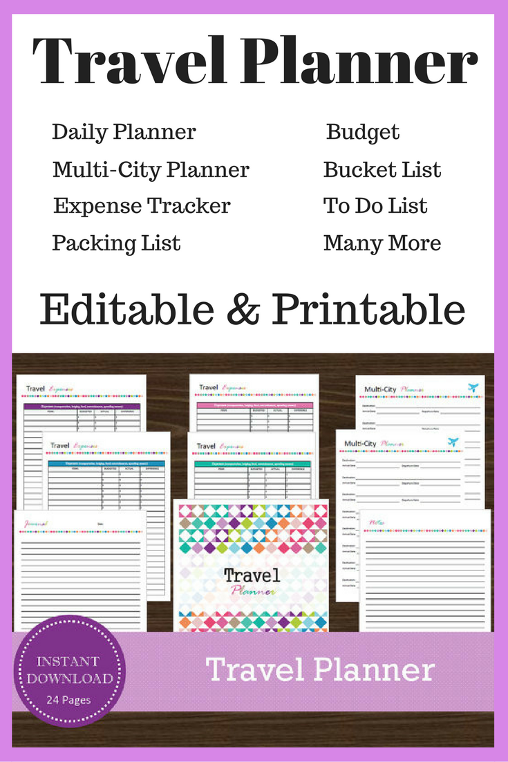 instantly editable downloadable and printable travel planner