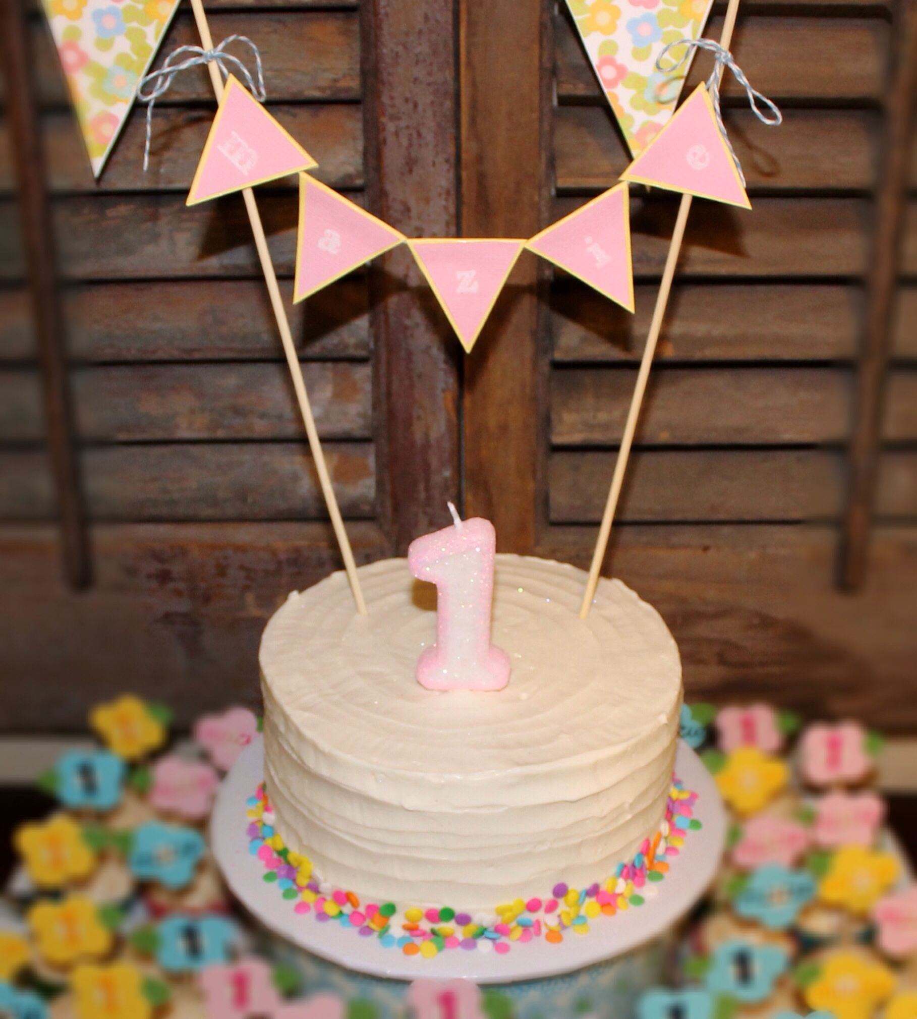Healthy First Birthday Smash Cake. Made With Bananas & Applesauce, No Sugar Added. Topped With
