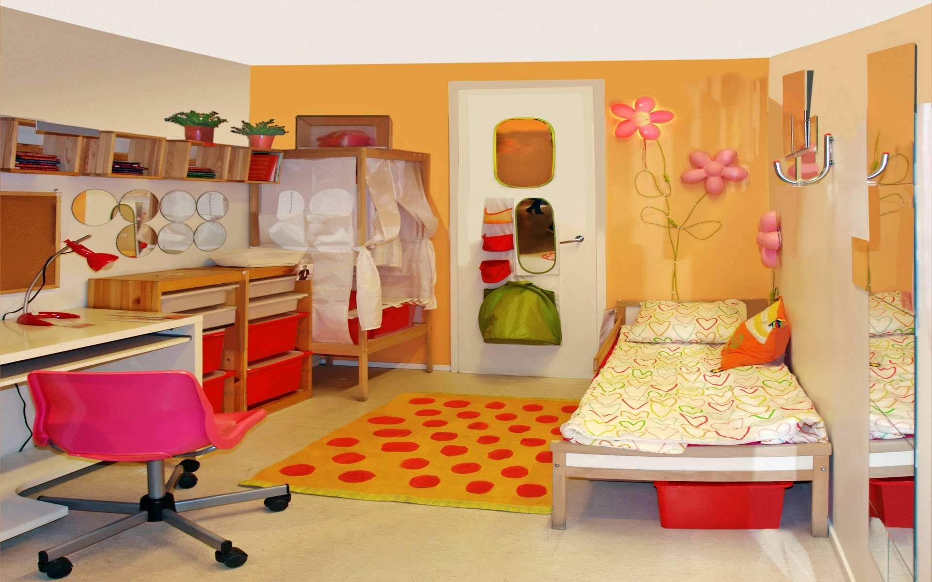 Kids Room Colorful Children Bedroom Design Ideas With Furniture Single Bed And Pillow Red Yellow Rugs Study Lamp On The