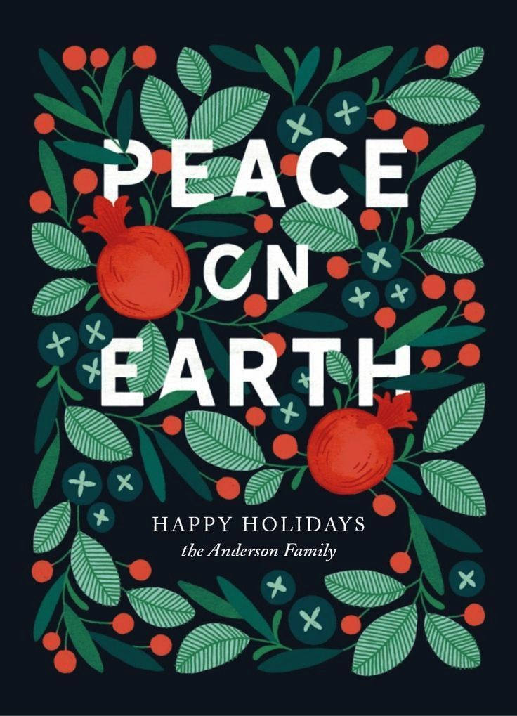 in Peace  Customizable Holiday Cards in Green by Paper Raven Co  Scandinavian inspired Christmas holiday card design by artist Erin McManness This handillustrated card fe...