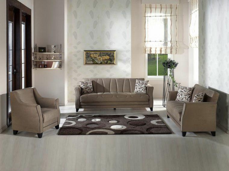 Tappeti Soggiorno Moderno : Soggiorno moderno e luminoso con tappeto con cerchi bianchi e neri