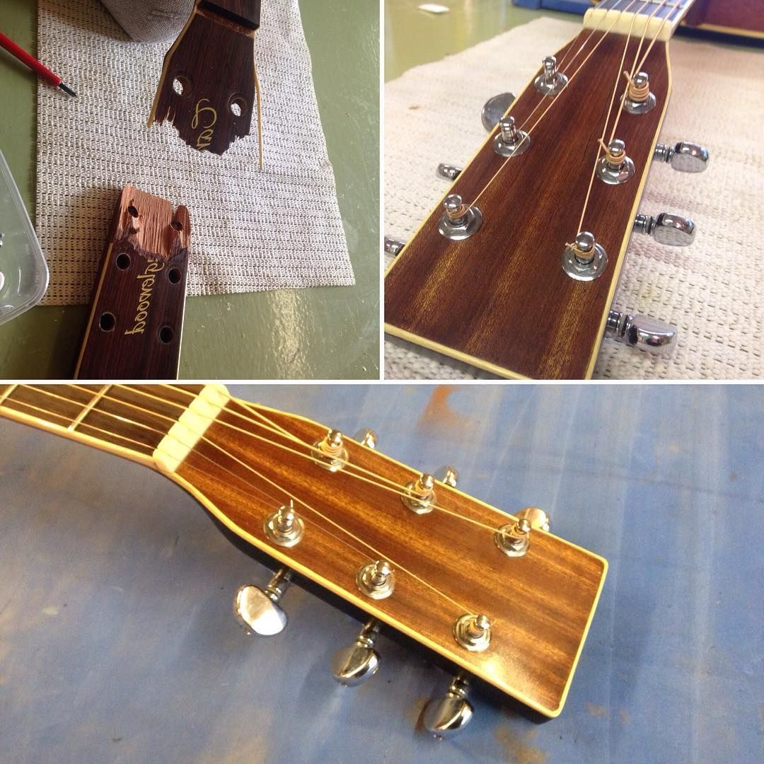 Headstock Repair Before And After Booooom Truenotesuk Lutherie Guitartech Acousticguitar Guitar Tech Notes Repair