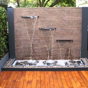 Backyard Design Ideas With Outdoor Wall Fountain For