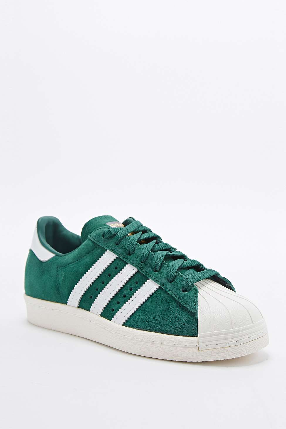 adidas Originals Superstar 80s Delux Suede Trainers in Green