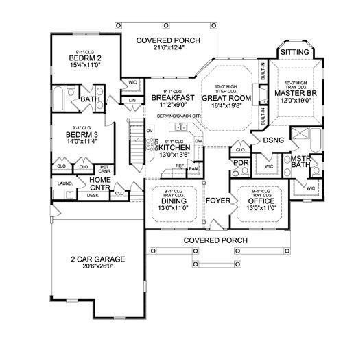 The Sturbridge Ranch House Plan Offers An Open First Floor With The Kitchen Opening Right To The
