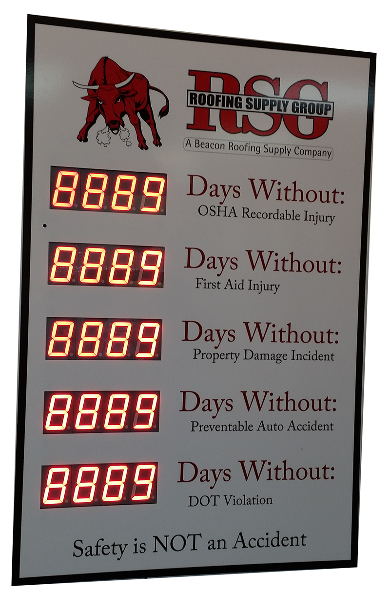 Electronic Safety Scoreboard with Five Counters (36Hx24W
