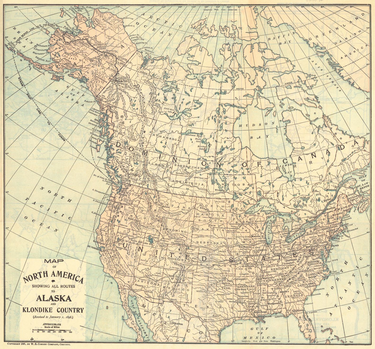 Map Antique. Map of North America Showing All Routes to Alaska and ...