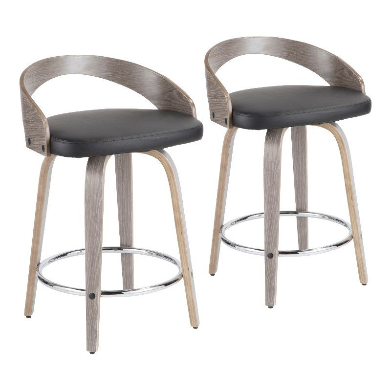 Mid Century Gray And Black 24 Inch Counter Height Stools Set Of