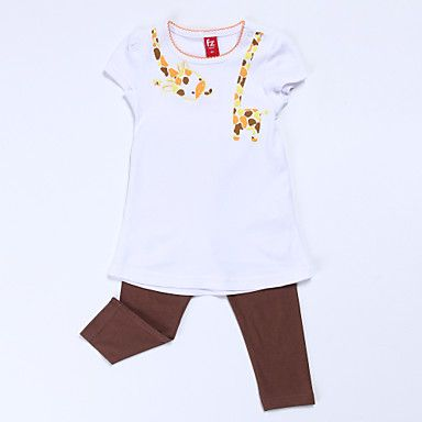 Girl's Brown / Red Clothing Set , Cartoon Cotton Summer - USD $ 8.99