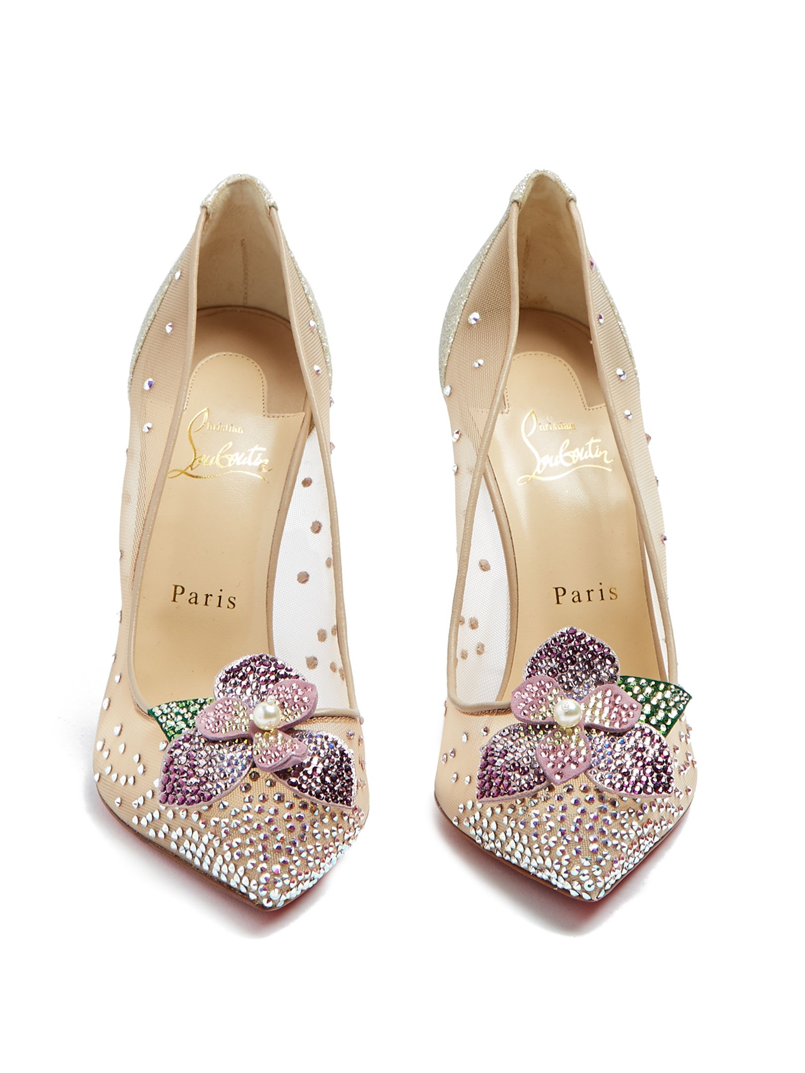 new arrival 1908a 1d1fe CHRISTIAN LOUBOUTIN Feerica crystal-flower embellished pumps ...