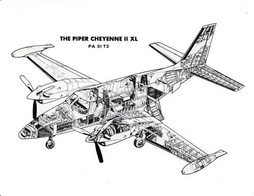 cutaway diagram of the 1981 piper cheyenne ii xl