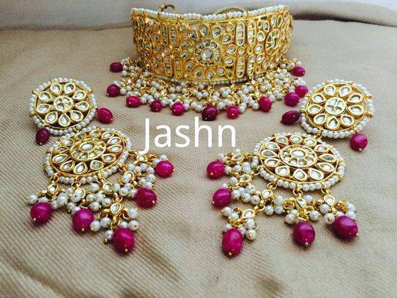 75c18b8d3 Kundan necklace set Punjabi bridal set Indian by JashnBoutique ...