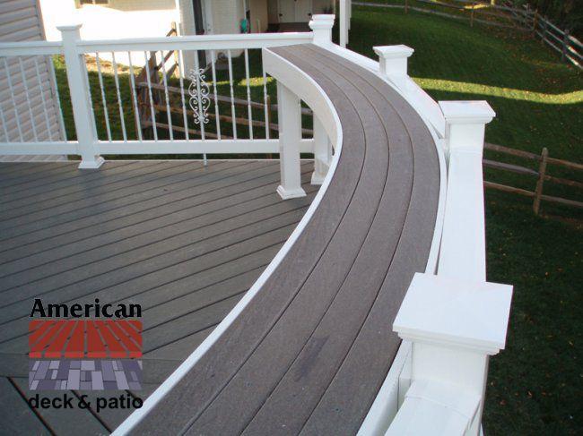 Curved Bar Rail. Composite decking bar rail anchored on ...