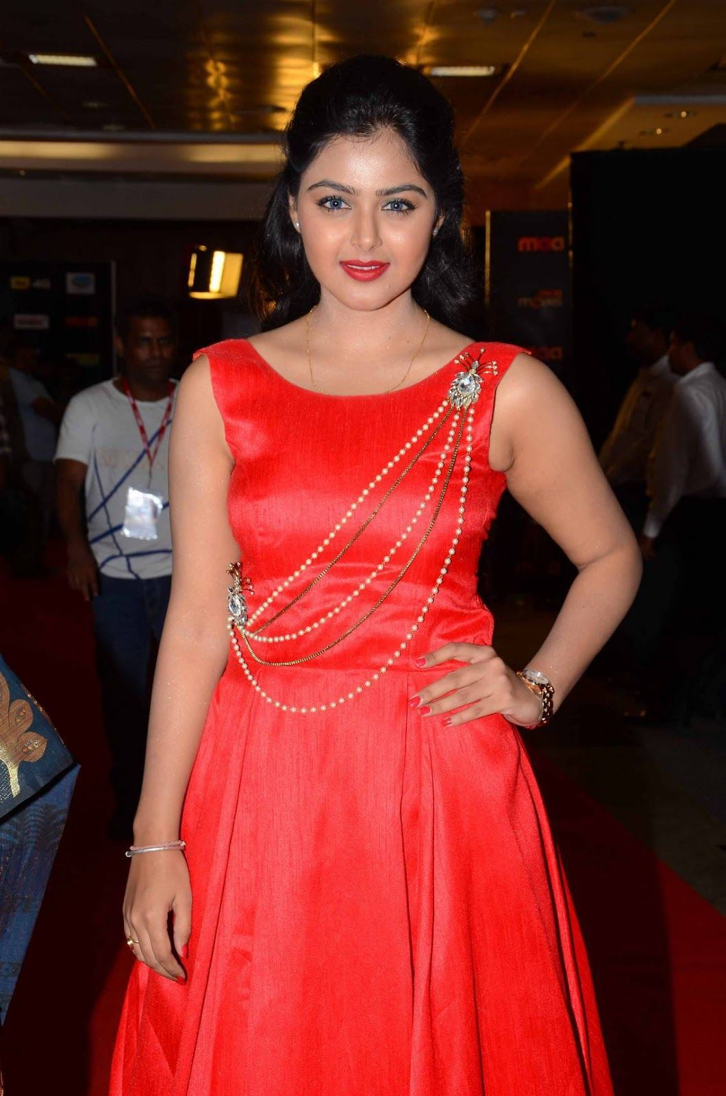 bfb4e583de Monal Gajjar Pics In Red Dress At Cinemaa Awards | Monal gajjar ...