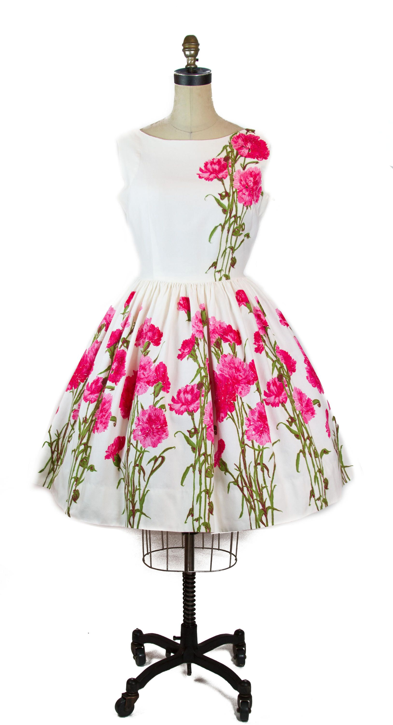 f286438b80ab5a 1950s white cotton sundress has a skirt of an amazing oversized border  print of bright pink