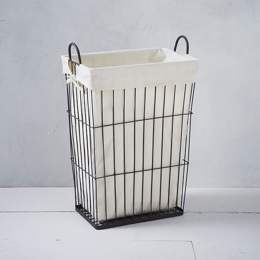Linen Lined Wire Hamper Rectangle From West Elm Handled Wire