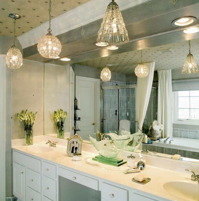 Bathroom:Renewing Bathroom Vanity With Best Lighting Modern Pendant ...