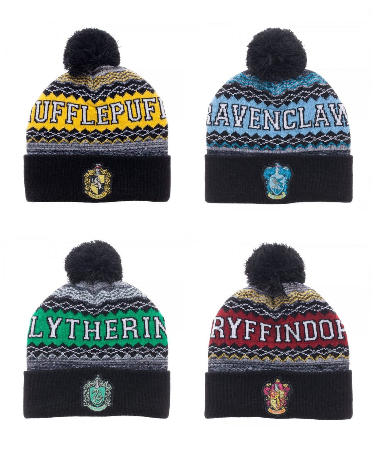 d713b83d6b2dc Adult size Harry Potter Knit Cuff Pom Beanie - 4 Houses fnt ...