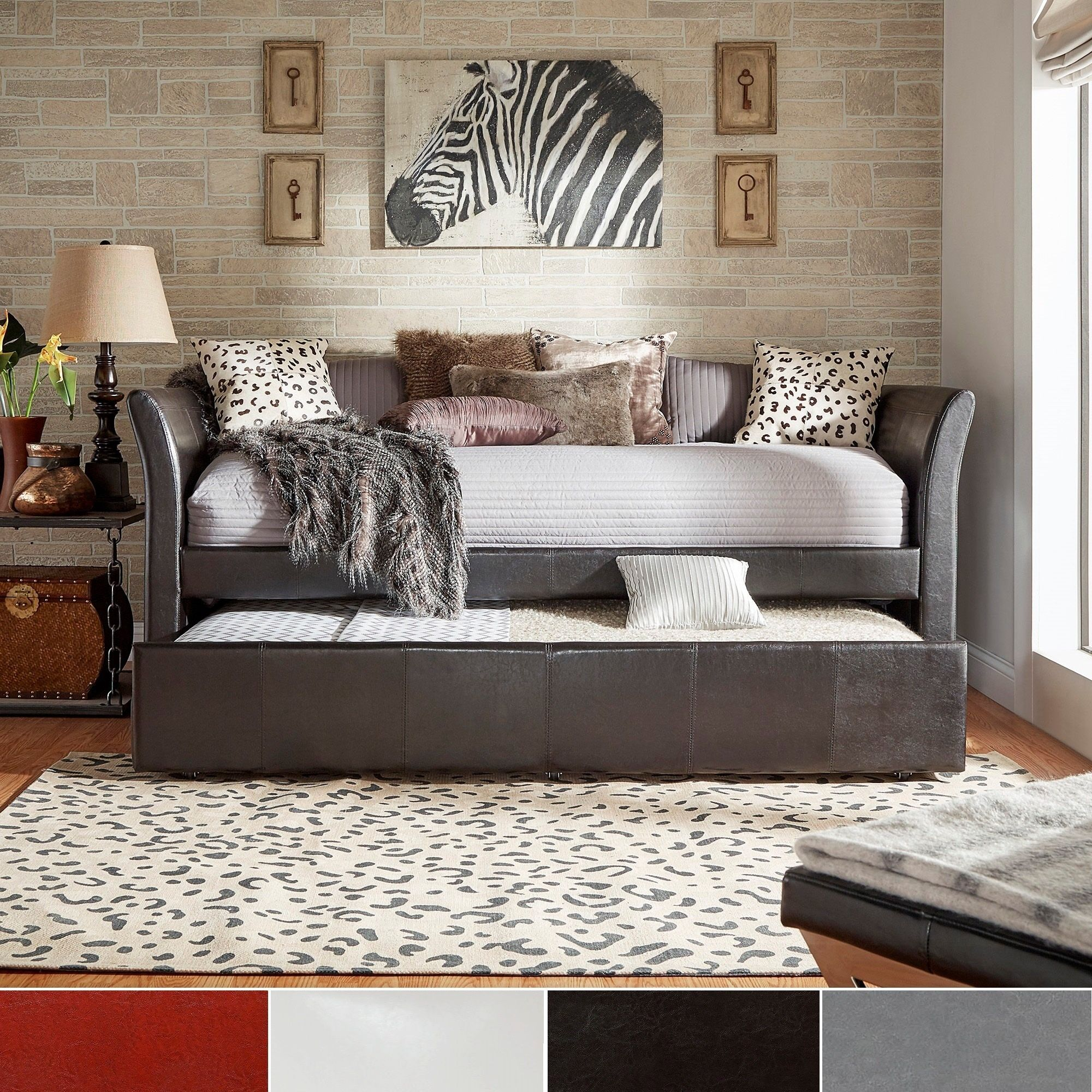Adult Daybed With Trundle Sofa Beds Small Spaces Sleeper Dark Brown Faux  Leather