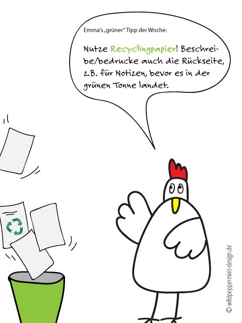Emma's empfiehlt, nutzt Recylcingpapier und beschreibt auch die Rückseite. #grünes #Büro #tipp / © wildpeppermint-design.de