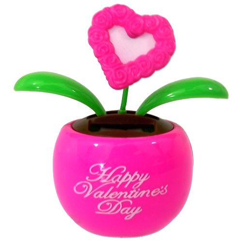 Solar Toys Valentine : Solar dancing flower heart pink officeplayground