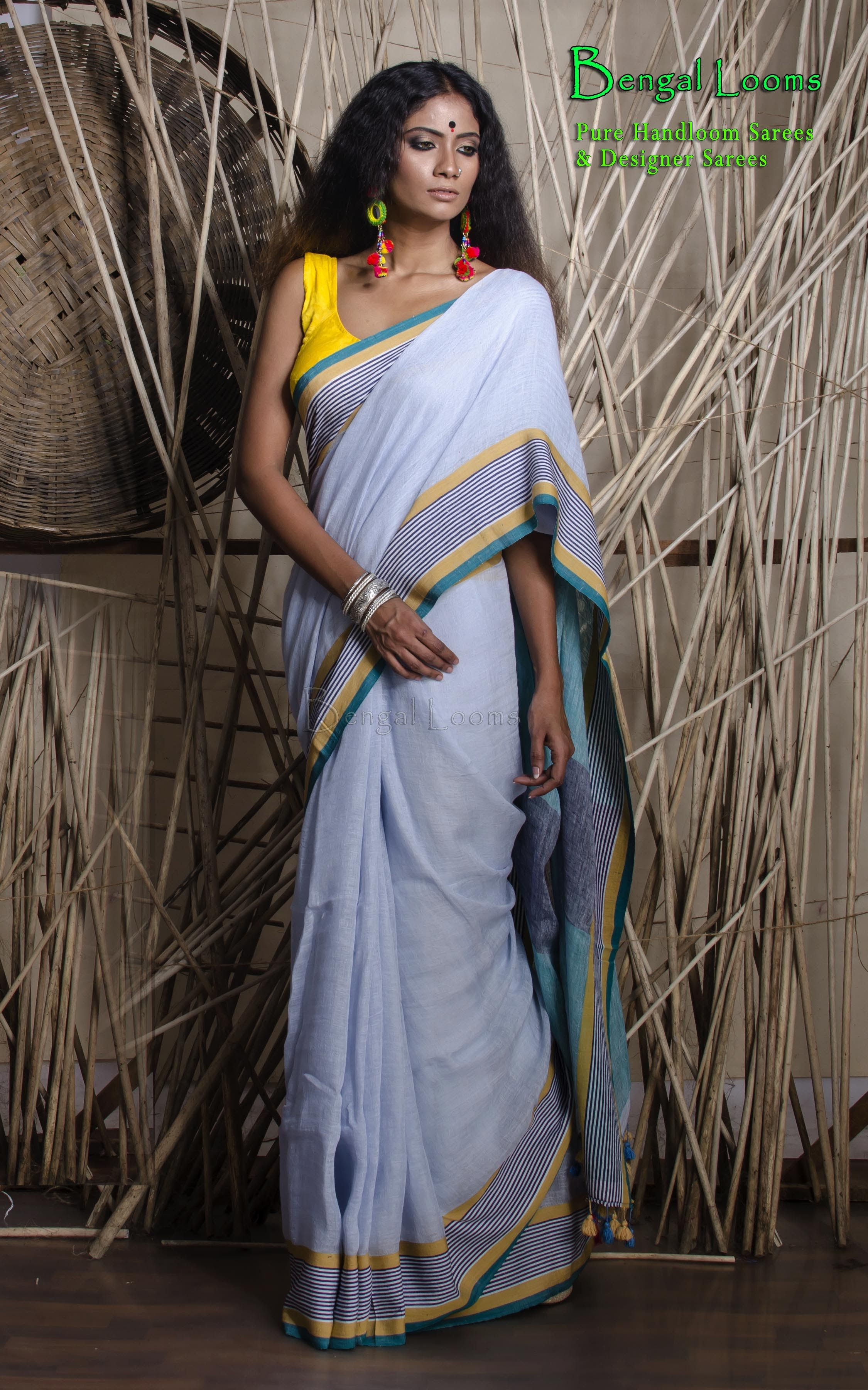 7fd16ac8fb0 Denim Blue color Linen Cotton Saree available for sale from Bengal Looms.