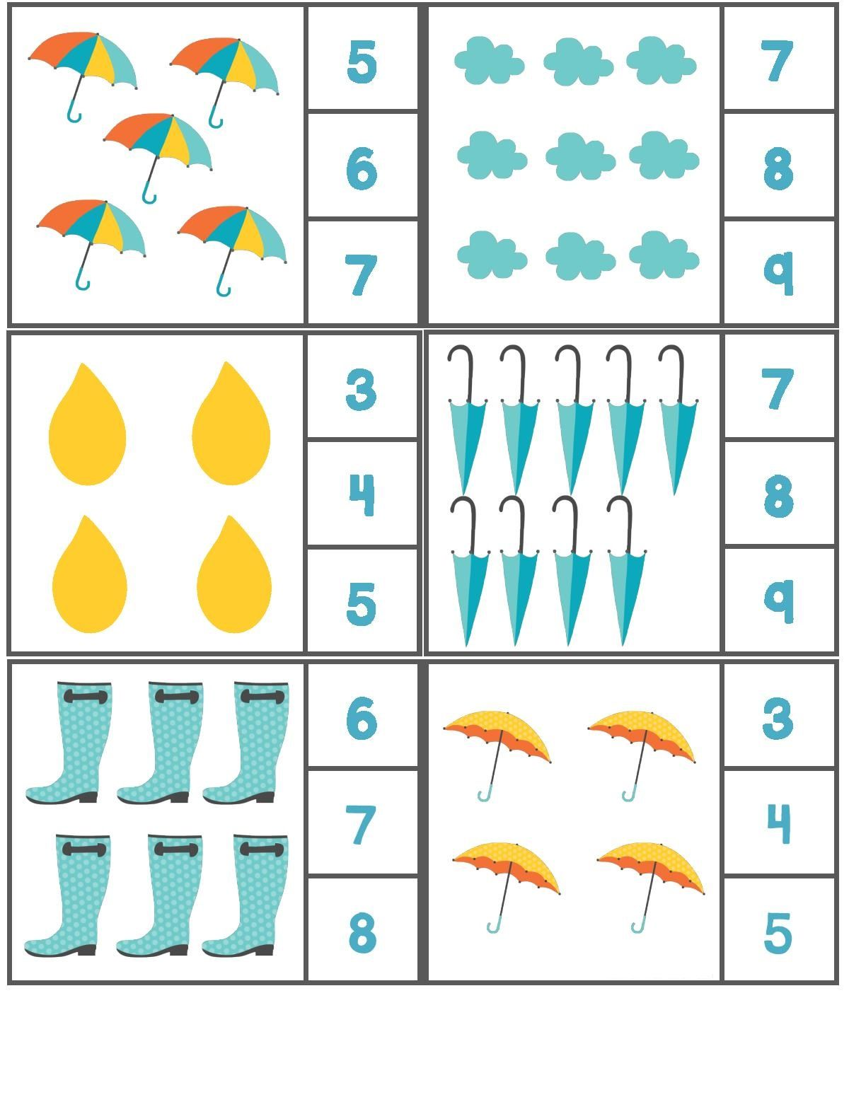 Rain Themed Counting Activity With Clothespin 2