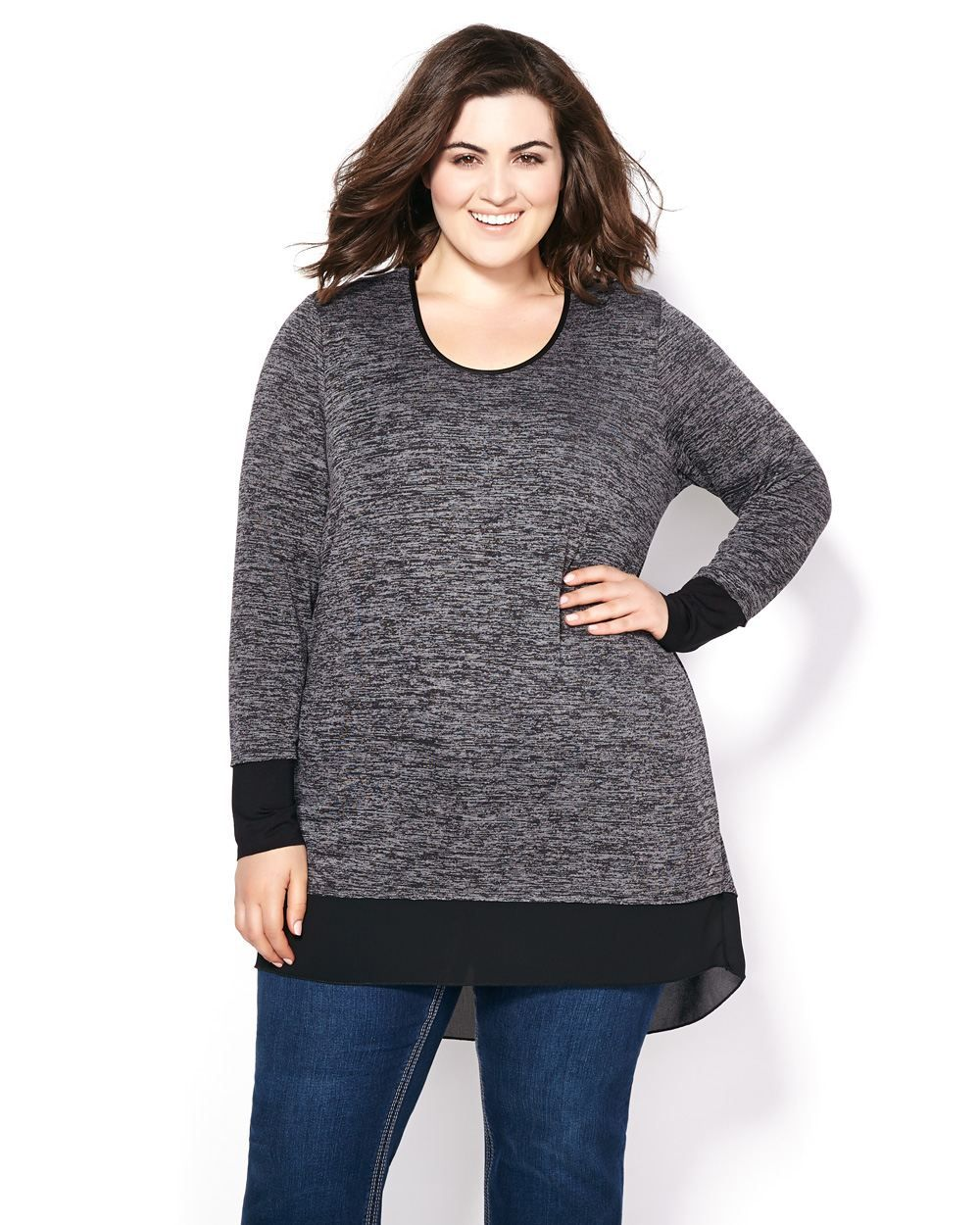 MELISSA McCARTHY Long Sleeve Two-Toned Knit Tunic Easy to pair ...