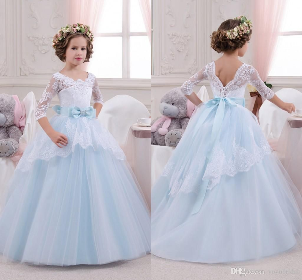 Tiered skirt flower girls dresses for weddings with appliques lace