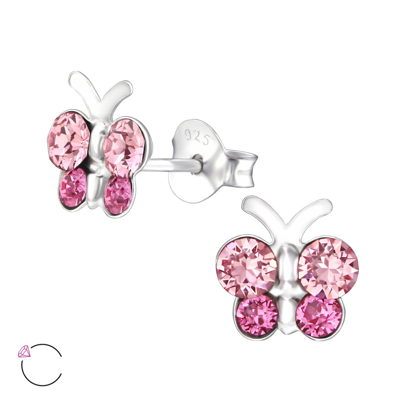 Children/'s Silver Pink Butterfly Ear Studs —AUS Postage— Jewellery Sterling 925