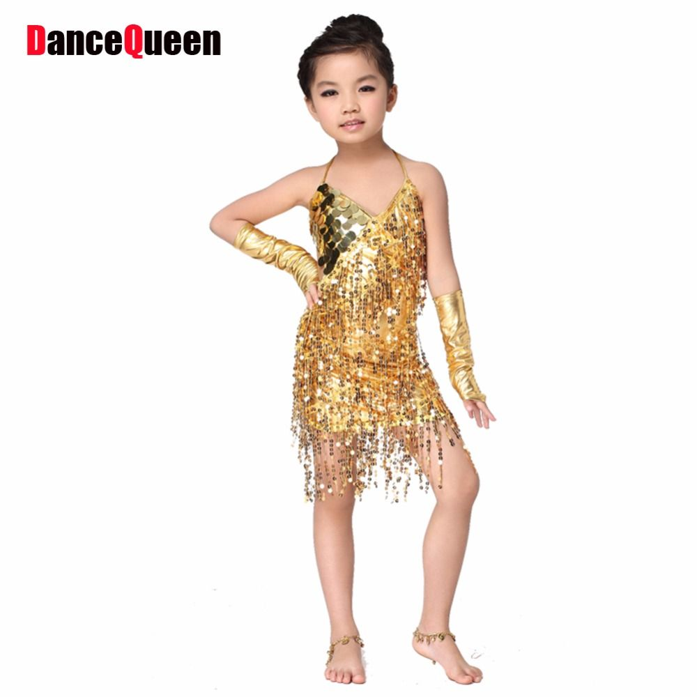 db573b297 2017 Golden And Silver Sequins Child Dance Performance Clothes Good ...