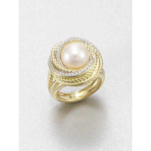 David Yurman Diamond & Pearl 18K Yellow Gold Ring - Polyvore