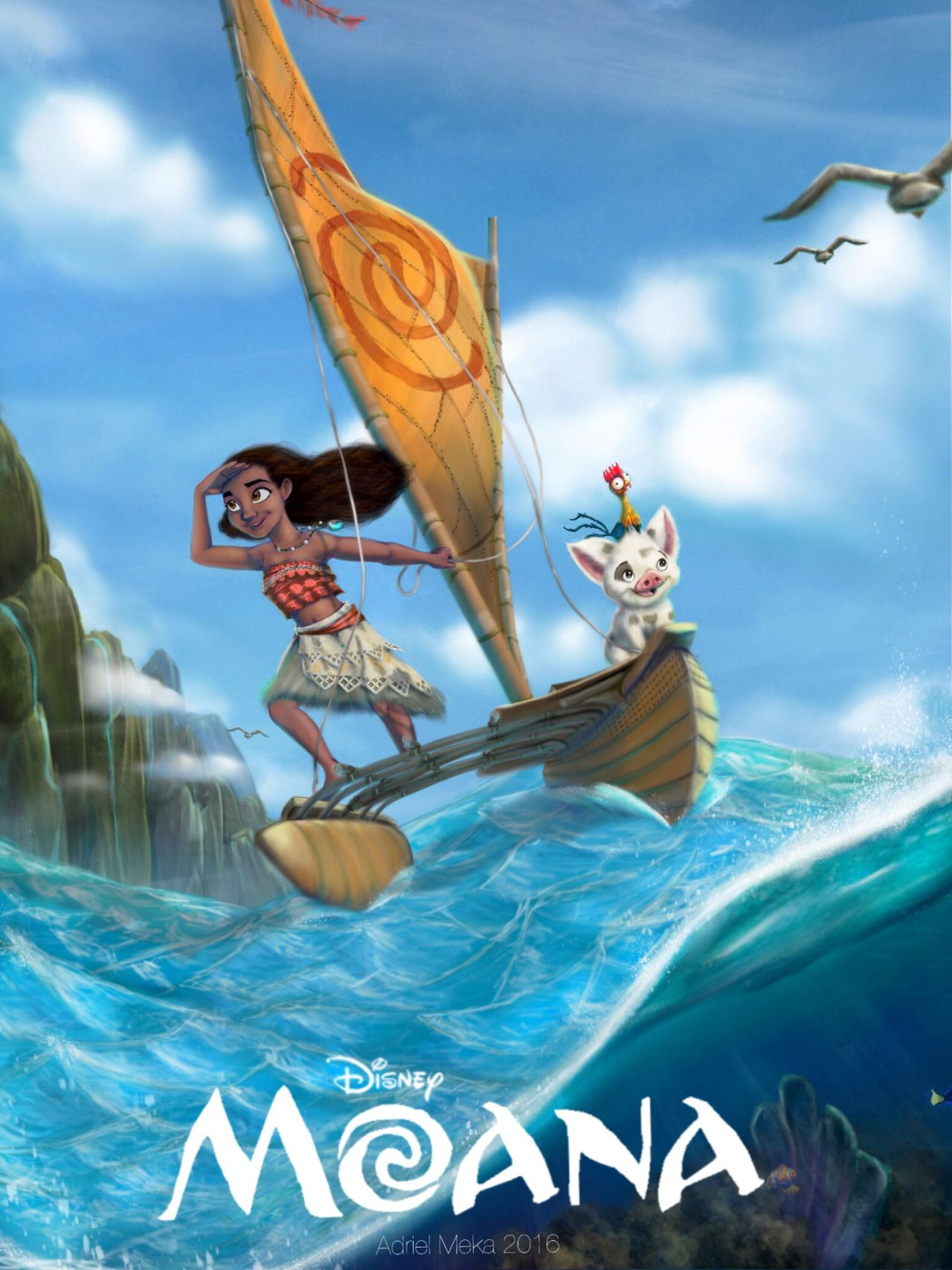 c6686ed9 Finally wrapped up the Moana poster! Here's a digital painting I did for the  upcoming Disney movie. It was a fun project and I'm really happy with how  it ...
