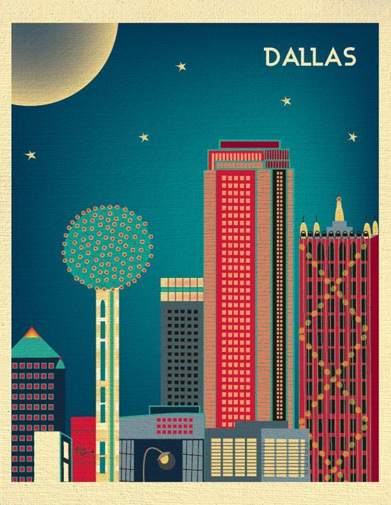 49f1b66c840 Dallas skyline Print