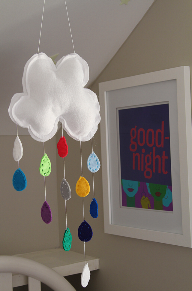 EASY DIY BABY Mobile.  Instead of rain drops make hearts in yellow gray and pink fabric.
